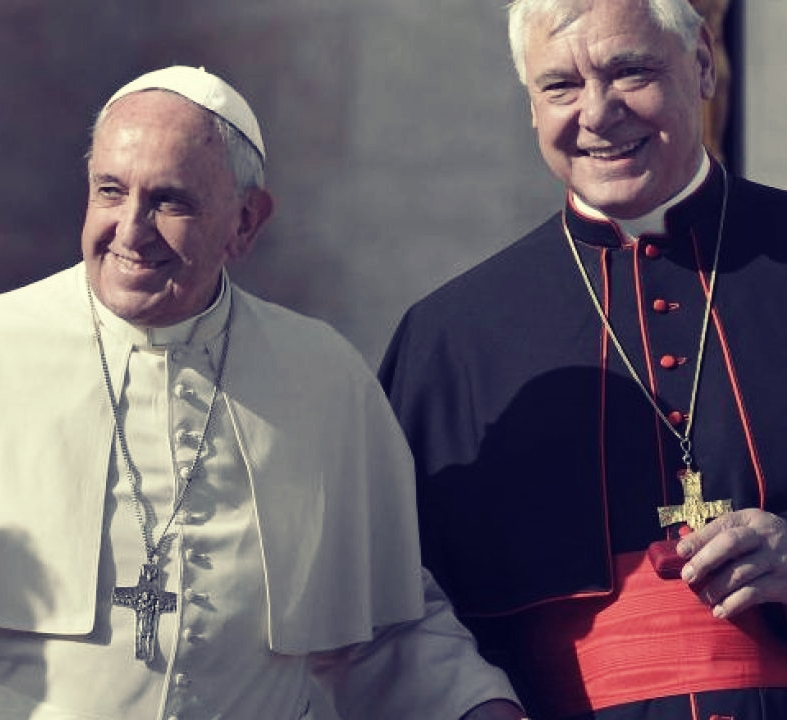 Pope Francis with Cardinal Müller. Credit: Paul Haring/CNS