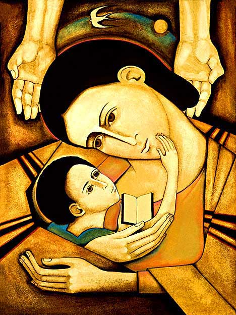 Mother and Child Reading the Word